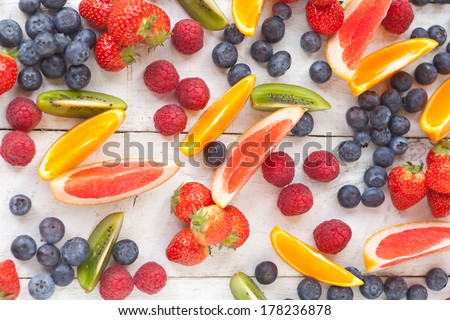 Fruit slices on a white background - stock photo