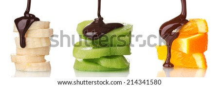 Fruit slices with chocolate isolated on white - stock photo