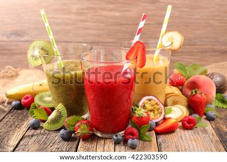 fruit smoothie - stock photo