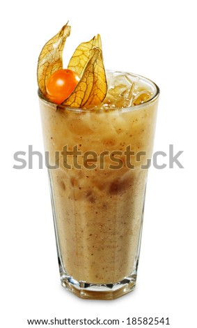 Fruit Smoothie made of Fresh Apple and Kiwi Served with Physalis (cape gooseberry) Isolated on White Background - stock photo