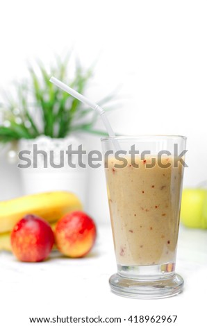 Fruit smoothie on a white background