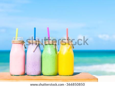 Fruit smoothies.  - stock photo