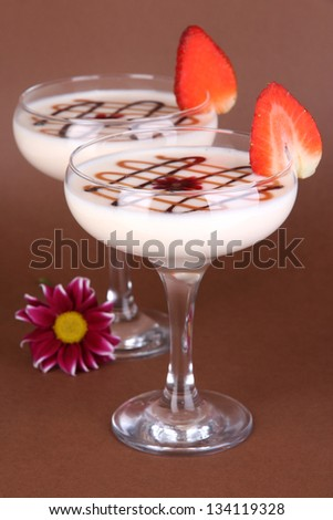 Fruit smoothies on brown background