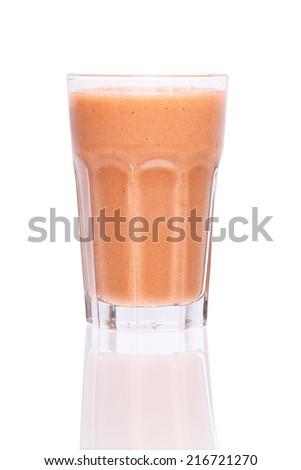 Fruit smoothies with black currant, strawberry, kiwi, orange and banana isolated on white background - stock photo