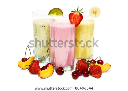 Fruit smoothies with  cherry, strawberry and  peach isolated on white background - stock photo