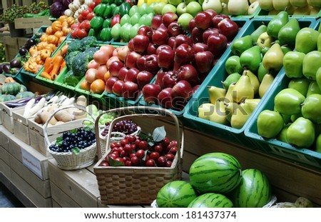 fruit stall in the market - stock photo
