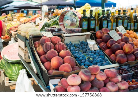 fruit stand at green market - stock photo