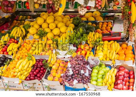Fruit stand on a street of Rome in summer. - stock photo