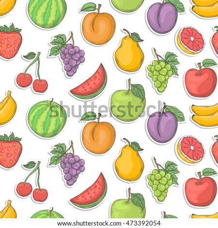 Fruit sticker seamless illustration.Summer seamless pattern hand draw with shadow isolated on a white background