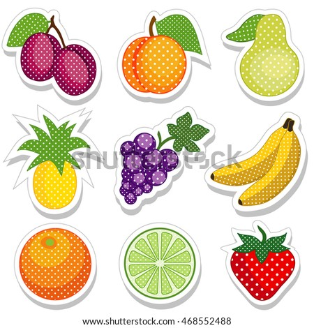 Fruit Stickers in Polka Dots, nine fresh food stickies: plum, peach, pear, pineapple, grape, banana, orange,  lime, strawberry.