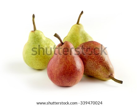 Fruit Still Life - Four Pears, Two with Green Skin and Two with Red Skin, Arranged Artistically Together on White Background with Copy Space - stock photo