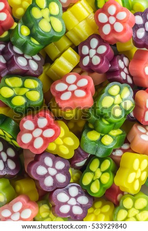 fruit sugar colorful gummy  flowers confectionery