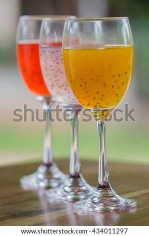 fruit sweet basil seed drink in glass.