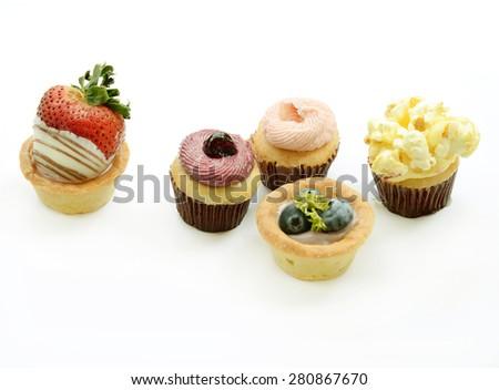 fruit tarts on white background - stock photo