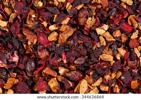 Fruit tea,Ingredients: Apple pieces, hibiscus, rose hips, elderberry, passion fruit, strawberry, kiwi, freeze dried raspberry, rose petals, aroma. - stock photo