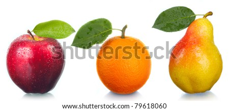 Fruit the fresh tasty. An orange, an apple, a pear. - stock photo
