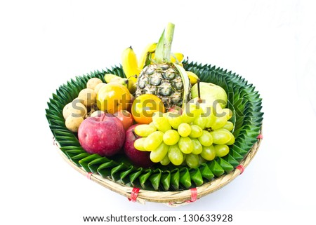 Fruit tray on a white background - stock photo