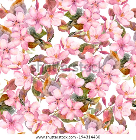 Fruit tree (apple or cherry) pink flowers. Seamless floral swatch. Watercolour art on white background - stock photo