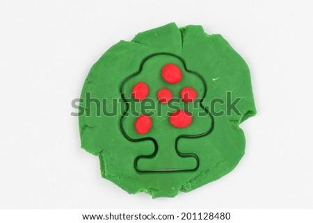 Fruit tree from children bright plasticine - Stock Image macro. - stock photo