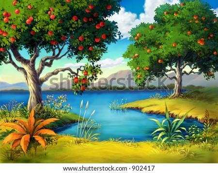 Fruit Tree with Lake - stock photo