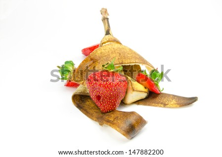 Fruit waste on a white background - stock photo