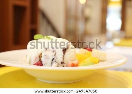 Fruit with ice cream  - stock photo
