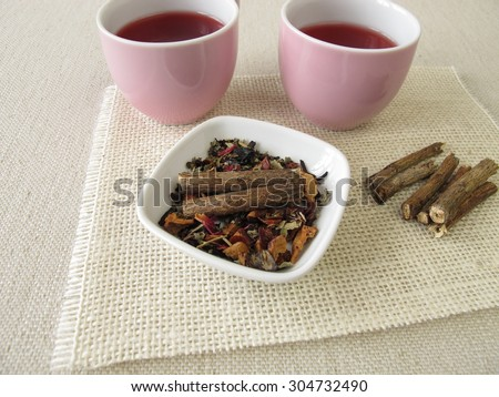 Fruit with licorice root - stock photo