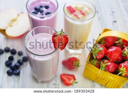 fruit yogurt - stock photo