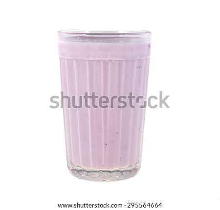 Fruit yogurt in a glass isolated on white background - stock photo