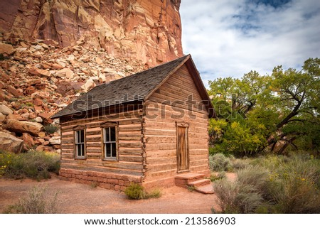 Fruita School House, Capitol Reef National Park, Utah. This historic school house was built in 1896 by mormon settlers.The little one-room building served as the learning center for grades 1 - 8.