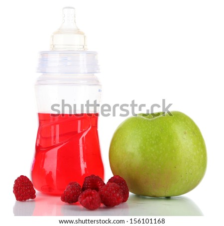 Fruits and baby bottle with compote isolated on white - stock photo