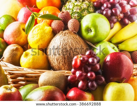 Fruits and basket background. Healthy eating and dieting concept. Winter assortment - stock photo