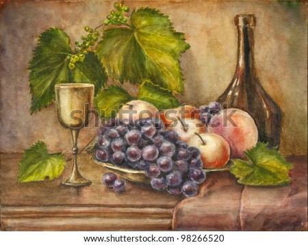 Fruits and bottle. Still life. Watercolor painting. - stock photo