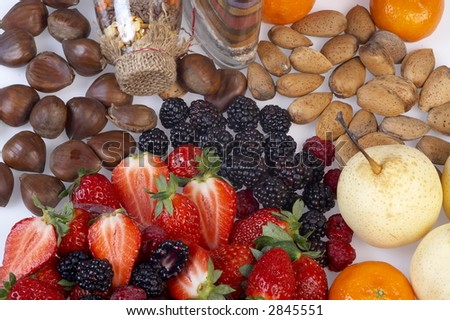 fruits and bottles with seeds and hempen plug