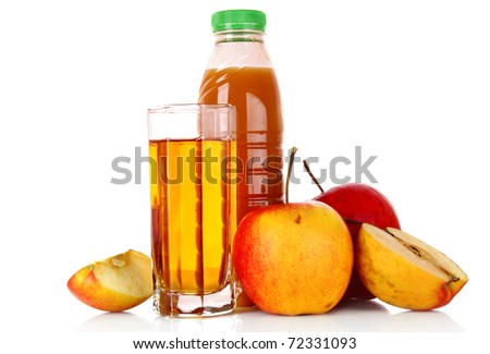 Fruits and glasses with juice isolated on white