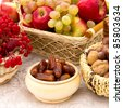 fruits and nuts and berries - stock photo
