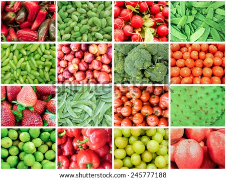 Fruits and Vegetable collage in Red and Green theme showing diversity in food  - stock photo