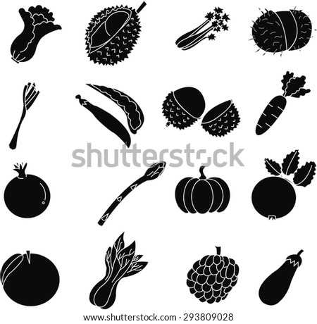 fruits  and vegetable  icon set .