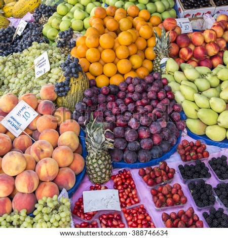 Fruits and vegetable in local market,Istanbul,Turkey