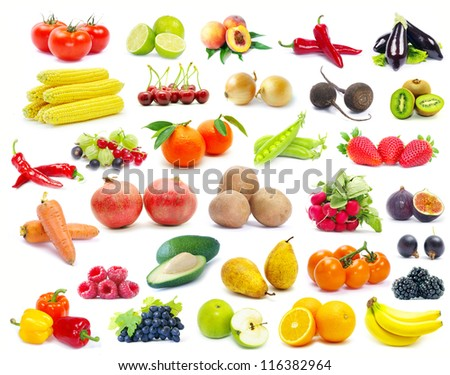 fruits and vegetable isolated on white background - stock photo