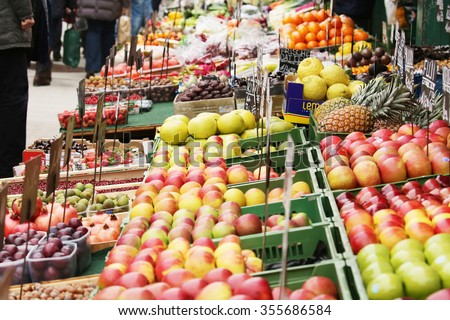 Fruits and vegetables at a farmers market. - stock photo