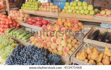 Fruits and vegetables at a farmers market