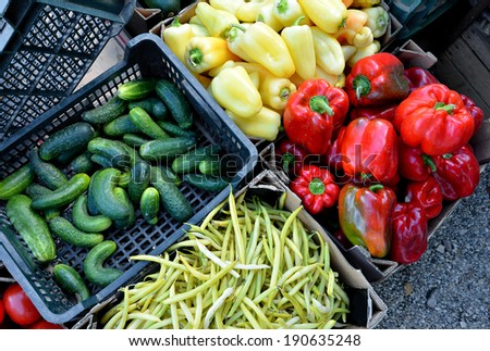 Fruits and vegetables at a farmers market for sale