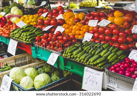 Fruits and Vegetables at City Market in Riga - stock photo