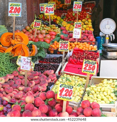 Fruits and Vegetables at Corner Shop in Italy