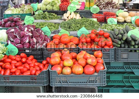 Fruits and Vegetables at Farmers Market