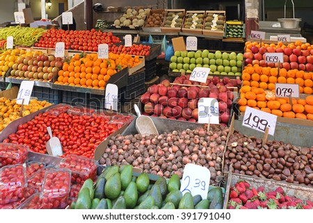 Fruits and Vegetables at Farmers Market Stall