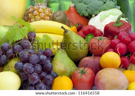 Fruits and vegetables colorful mixed assortment closeup - stock photo