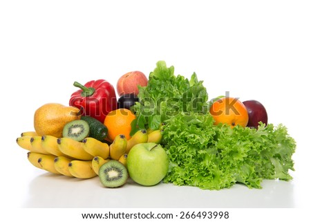 Fruits and vegetables diet weight loss morning morning breakfast concept organic green apple orange kiwi bananas peach salad - stock photo