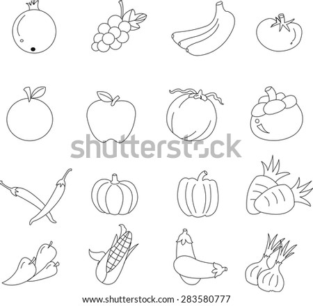 Fruits and Vegetables  icons.